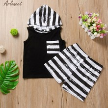 Toddler Baby Kids Boys Girls Sleeveless Striped Print Hooded Top + Pants Set Roupas De Bebe Coat Casual Full April 28th(China)