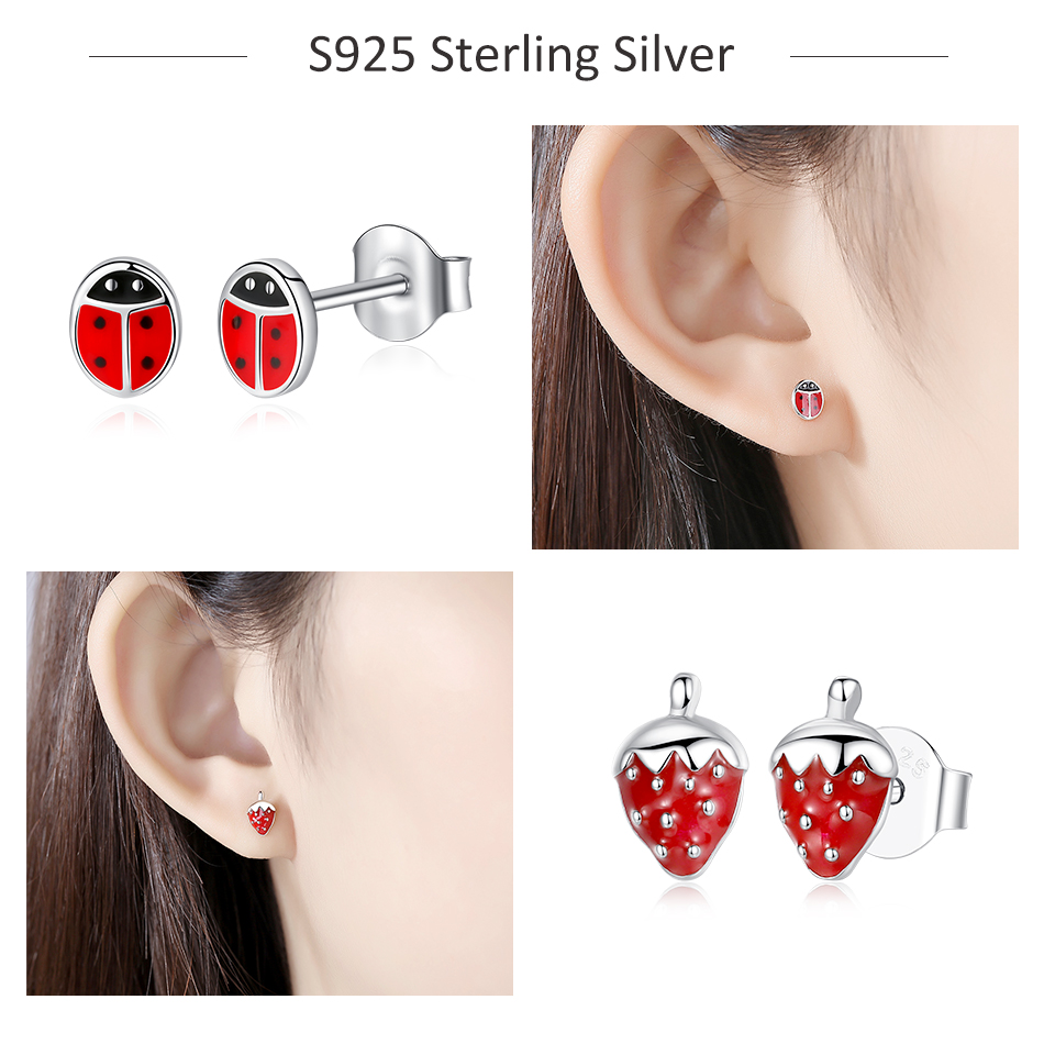 2020 Fashion Jewelry Christmas Stud Earrings Animal Ladybug Clover Heart 925 Sterling Silver Small Earrings for Women Kids Girls