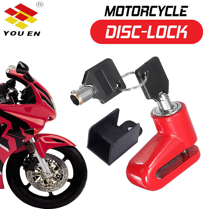 YOUEN Bike Accessories MTB Bicycle Lock Anti Theft Disk Disc Brake Rotor Lock For Scooter Bikes Motorcycle Safety Red Black Blue