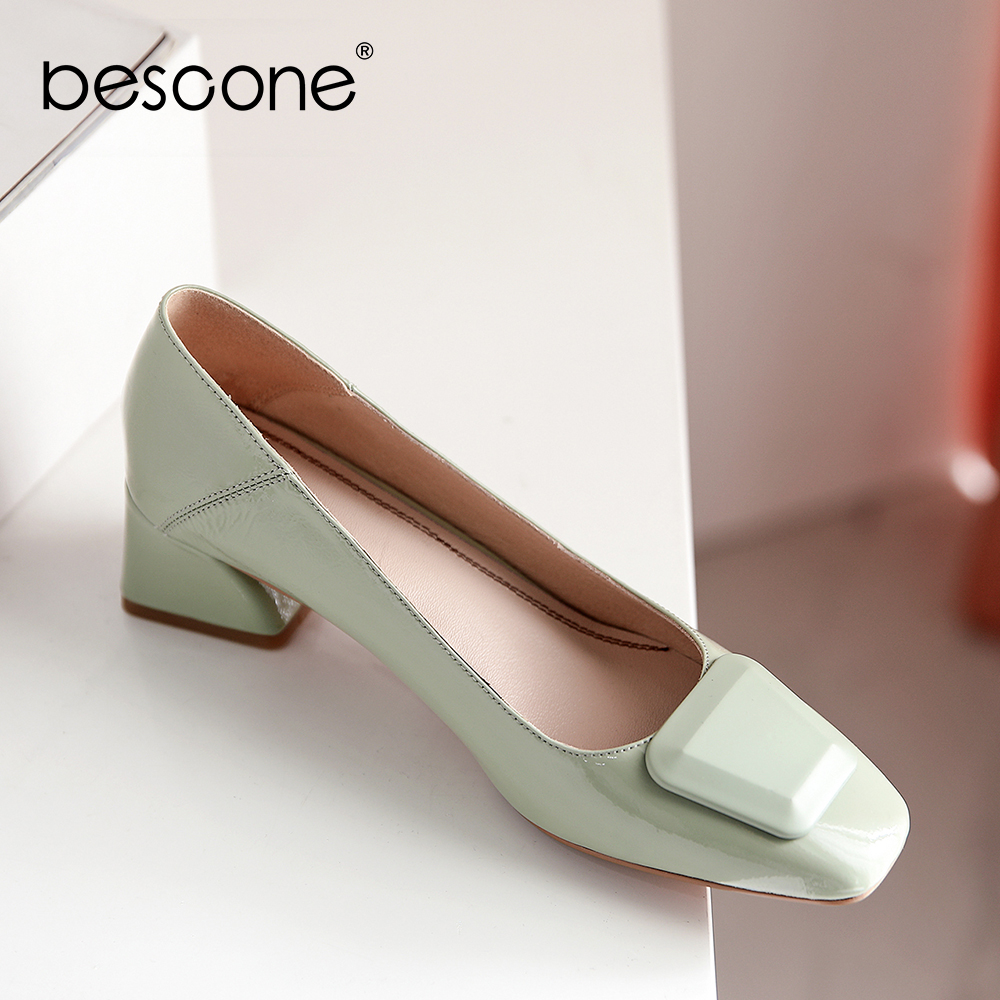 BESCONE Office Women' S Pumps Shallow Concise Solid Plain High Quality Cow Leather Elegant Slip-On Shoes Comfortable Pumps BO486