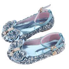 Детская кожаная обувь принцессы для девочек; Повседневная блестящая детская обувь из искусственной кожи с бантом и бриллиантами; вечерние туфли; школьная обувь; Цвет Серебристый