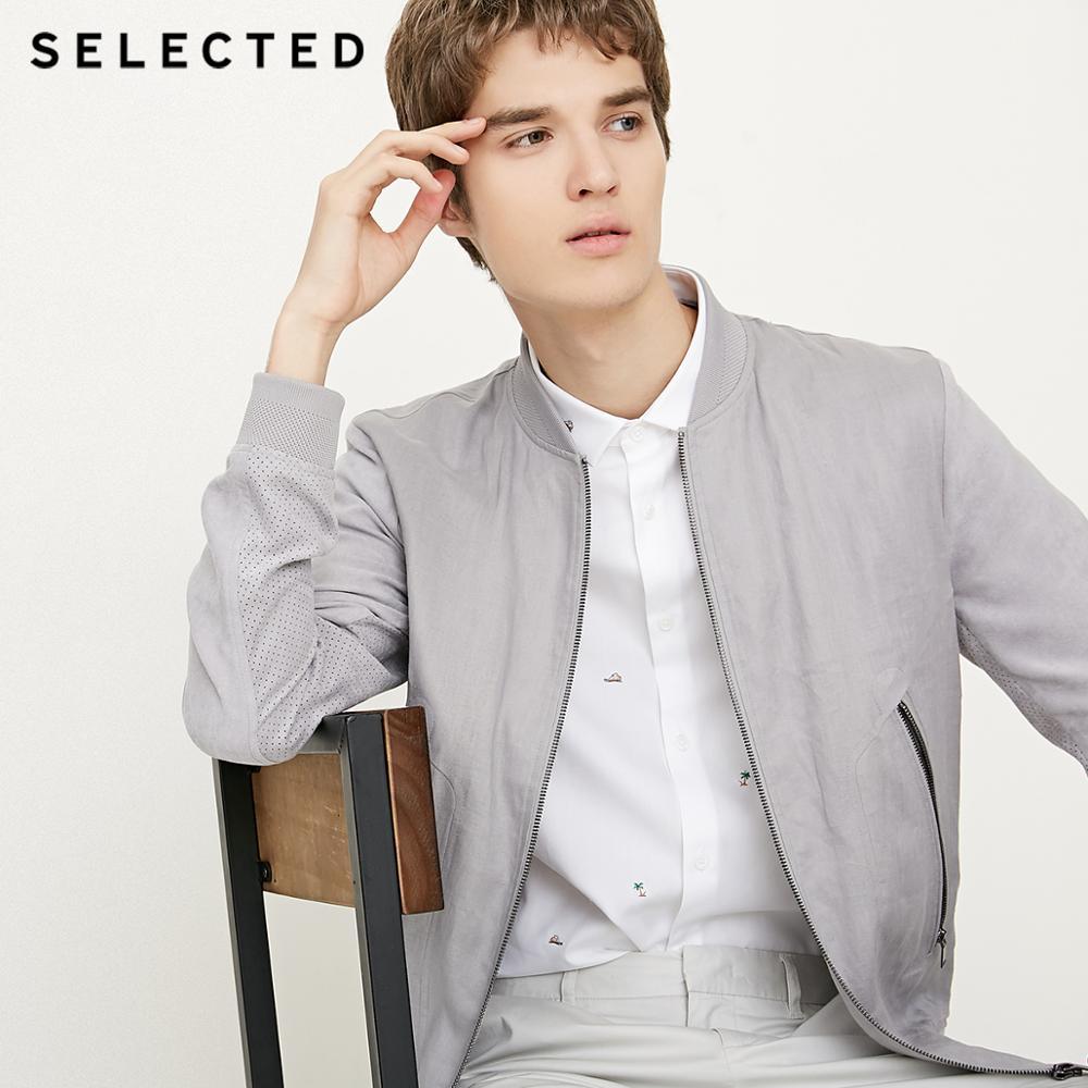 SELECTED Men's Linen Splice Coat Autumn & Winter Baseball Collar Jacket Clothes C | 418321501