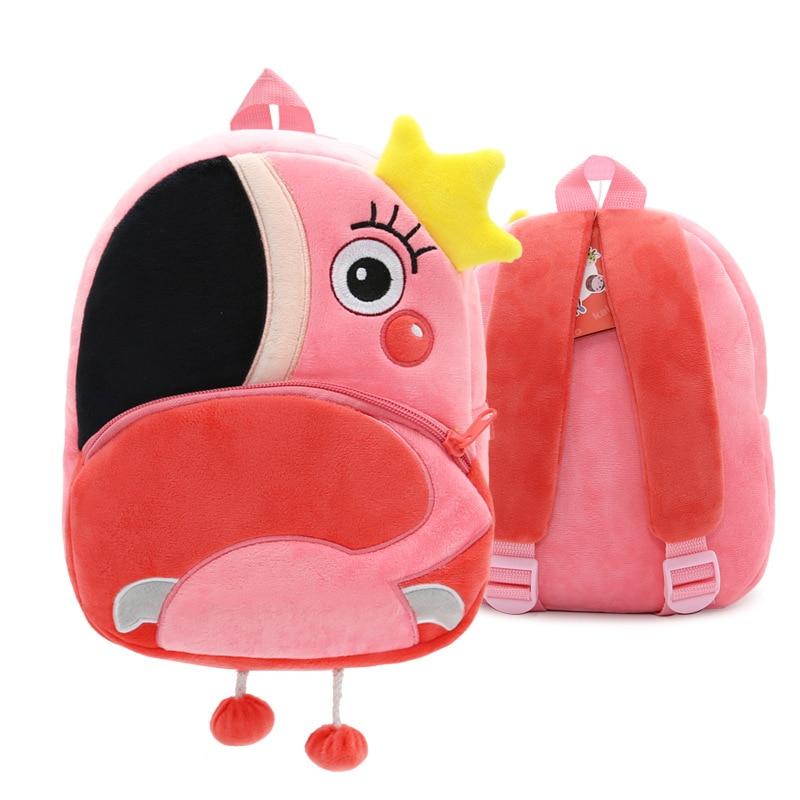 Cartoon Pink Flamingo School Backpacks Soft Plush Pouch For Toddler Baby Girls Boy Kindergarten Kids School Bags Mochila Escolar