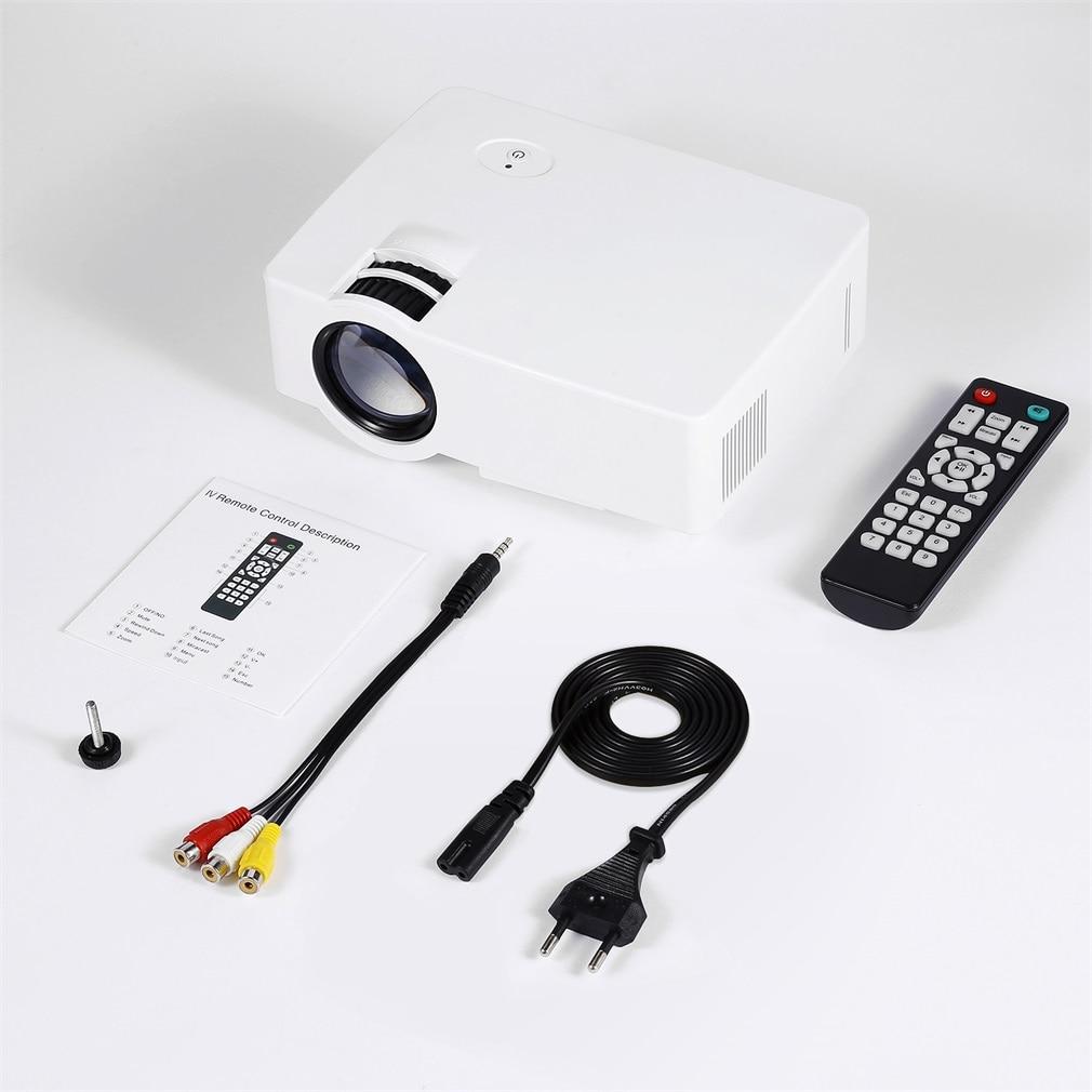 E08S Mini Portable Projector 200 Lumen 800 X 480 Full HD LED Video Home Cinema IR Remote Control Wired Same Screen