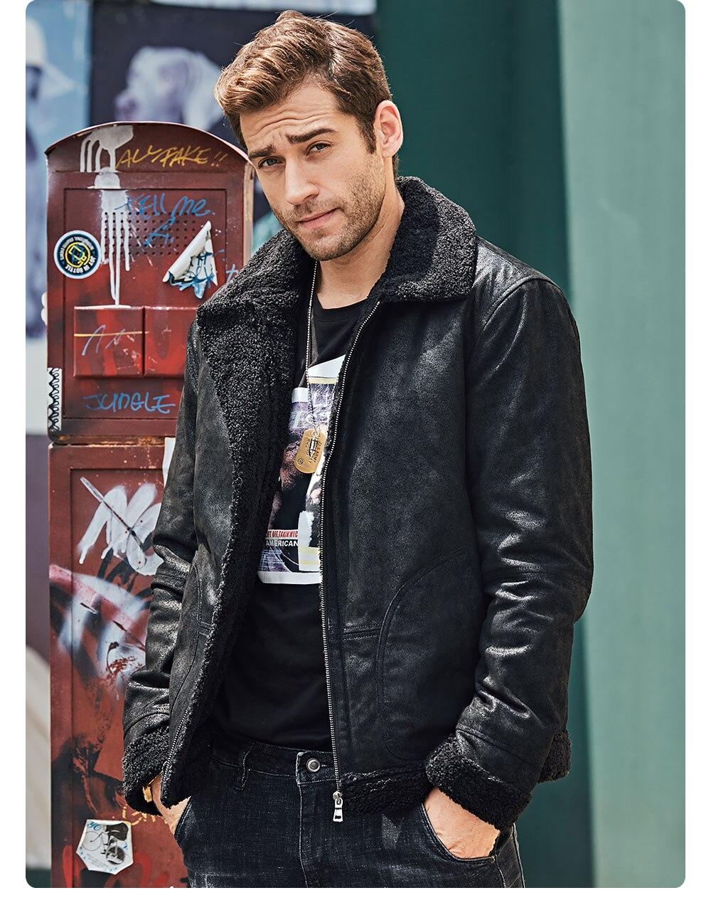 Hcfd8f6589c6f438eb59cb59d6144b2bee New Men's Real Leather Jacket Faux Fur Collar Genuine Leather Jacket