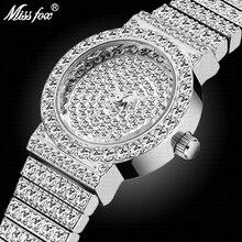 Missfox Kleine Dames Mode Polshorloge Zilver Luxe Merk 7Mm Ultra Dunne Full Diamanten Armband Xfcs Vrouwen Quartz horloge