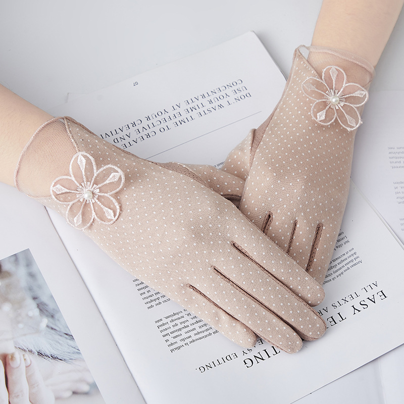 Women's Mid-long Summer Cotton Thin Gloves Autumn Slip-proof Touch Screen Short Style Sunscreen Sleeve Driving Gloves Guantes