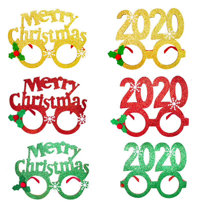 2020 New Year Glasses Gifts Merry Christmas Eve Decorations Party