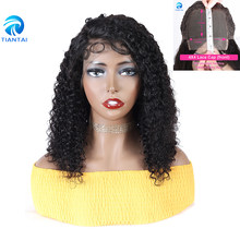 TTHAIR Short Curly 4x4Lace Closure Wig Kinky Curly Remy Human Hair Wig150% Density Short Bob Brazilian Hair Wigs With Baby Hair(China)