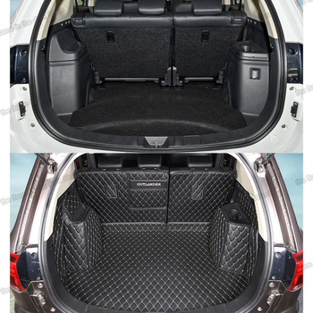 цена на Lsrtw2017 Leather Car Trunk Mat Cargo Liner for Mitsubishi Outlander 2013 2014 2015 2016 2017 2018 2019 2020 Rug Carpet