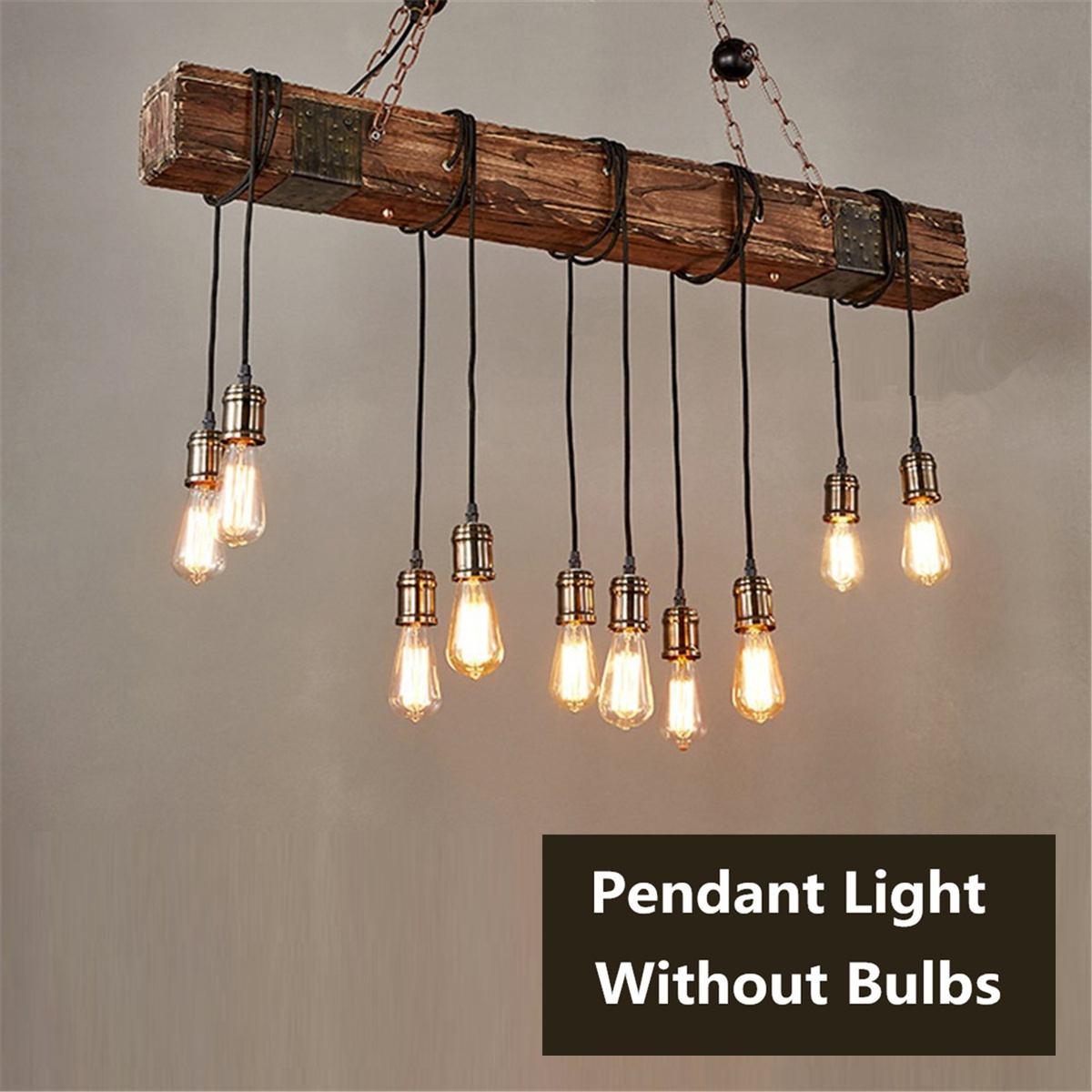 E26 110V Vintage Wood Industrial Pendant Light Hanging Lamp Rustic Light Fixture Restaurant Bar Home Decoration Loft Lighting