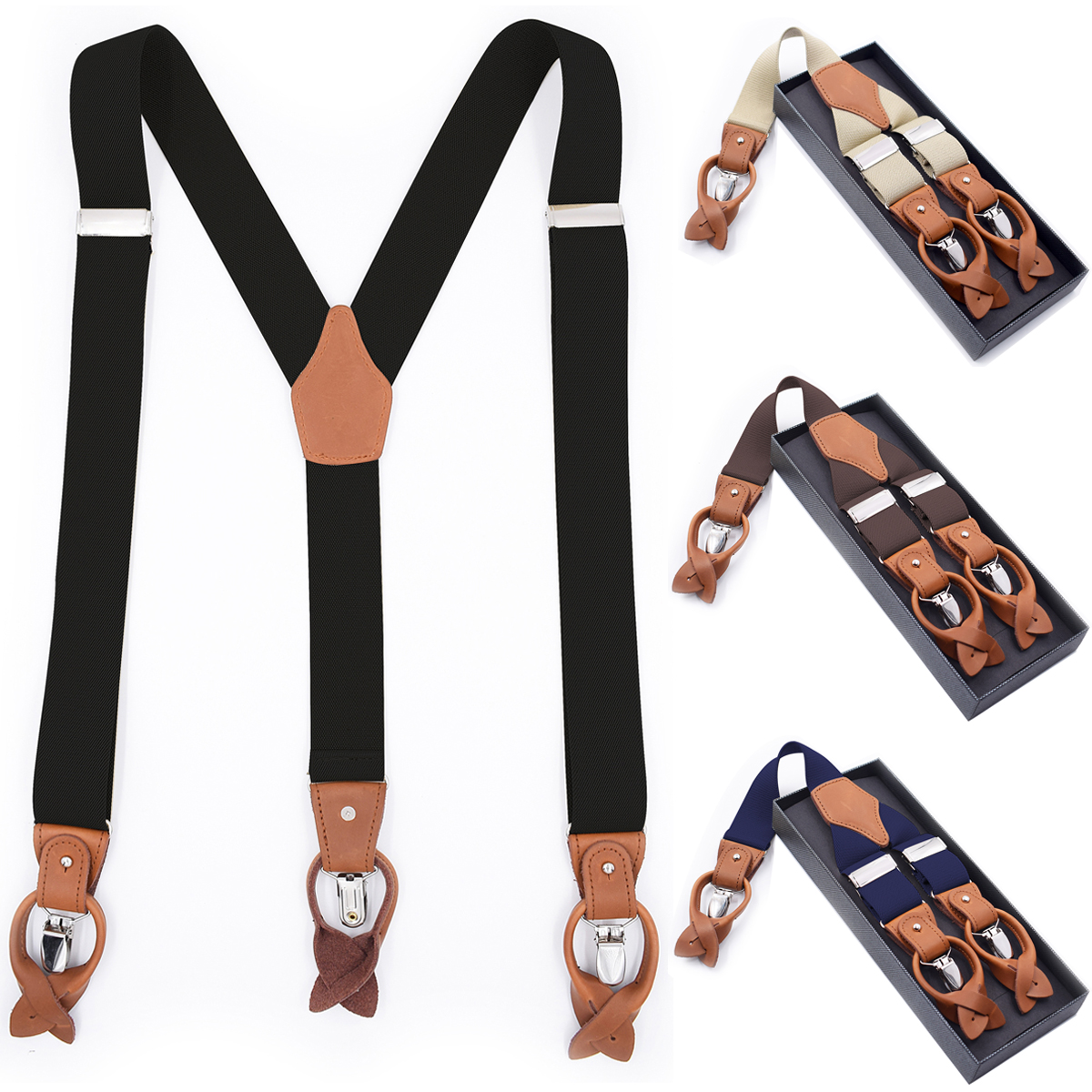 Mens Suspenders Braces Leather Straps Button Ends Heavy Duty Clips Adjustable Elastic Tuxedo Suspenders for Men Black Blue Brown image