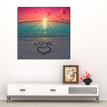 5D diy Beach love round/square Diamond Painting Cross Stitch Diamond Embroidery kits Diamond Mosaic home Decorative drill image