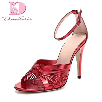Doratasia 2020 Dorpship Luxuxry Design Thin High Heels Knot Party ankle-strap Summer women's Shoes Sandals