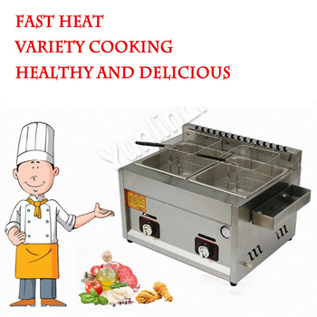 Energy Saving Fryer Two Tanks Gas Fryer Double-Cylinder Gas Frying Machine Stainless Steel French Fries Machine JX-11 ce 2 tanks 16l electric deep fryer stainless steel frying machine commercial or household fryer