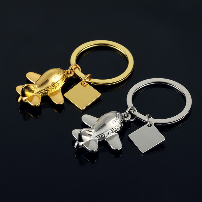 Airplane Keychain Pendant Silver Color Alloy Airline Travel Keyring Plane Model Gift Friendship Best Friend Jewelry Diy Handmade image
