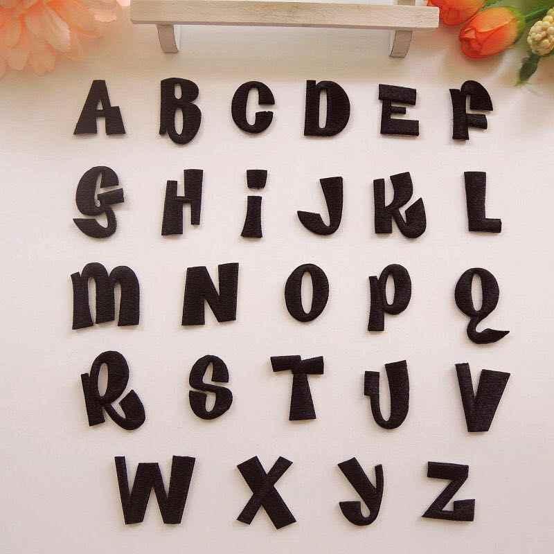 검은 글자 applique 알파벳 수 놓은 편지 철 의류 또는 청바지 장식 패치