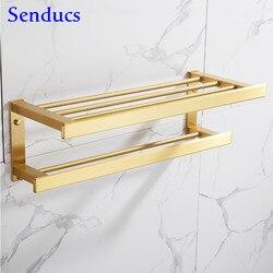 Senducs Badhanddoek Rack Geborsteld Goud Badkamer Handdoek Plank Houder Ruimte Aluminium Badkamer Hardware Set Gold Handdoekhouders