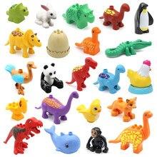 Tamanho grande modelos de blocos de construção animais zoo dinossauros panda pinguim golfinho coelho acessórios figuras tijolos brinquedos para crianças