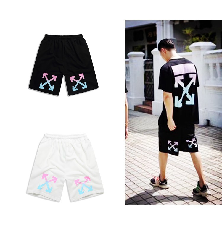 Europe And America High Quality Cotton Rainbow Gradient Color Arrowhead Classic Shorts Men And Women COUPLE'S Casual Loose-Fit S