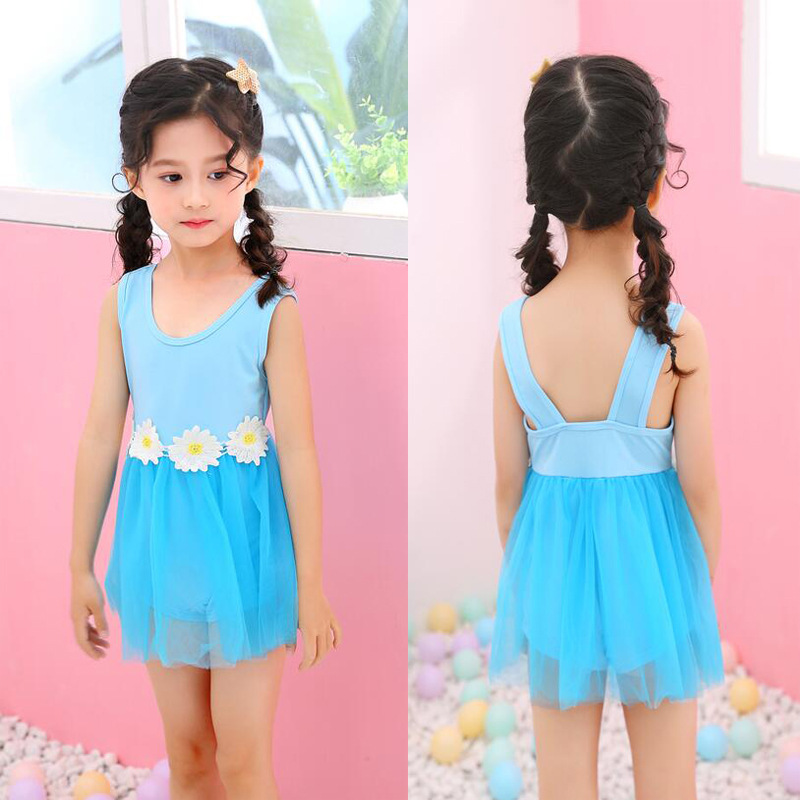 Baby Girls Bathing Suit 2019 New Style Korean-style Cute Princess Lace Mesh Dress Infant 3-7-Year-Old One-piece Swimwear