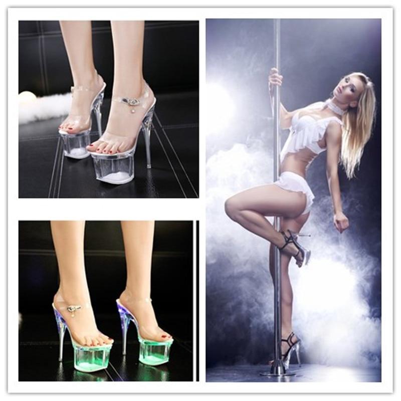 Crystal 14cm Heels Nightclub Luminous Sandals Dance Shoes Crystal Waterproof LED Sandals DJ Women Dance Shoes Heel 18cm/20cm