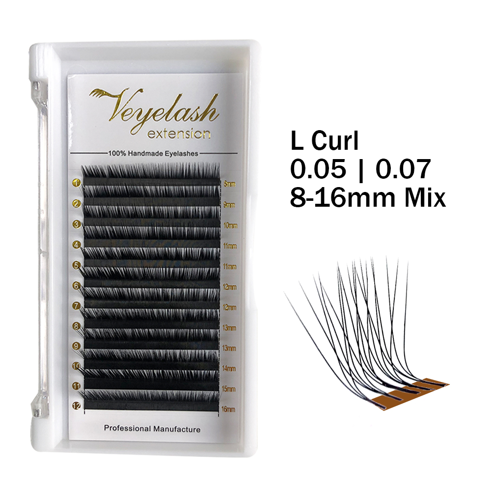 Veyelash L Curl 8-16mm Mix Russian Volume Eyelash Extension Silk Cilios Mink Lashes Wholesale Price Private Packages Lashes