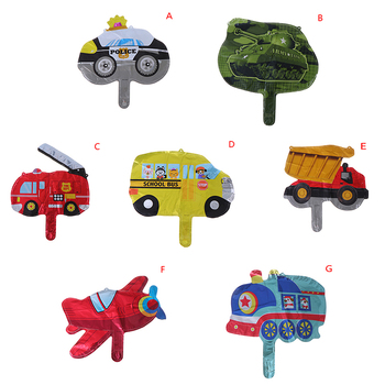 DIY cartoon car fire truck train aluminum foil balloon children's gift birthday party decorate holiday party balloon image