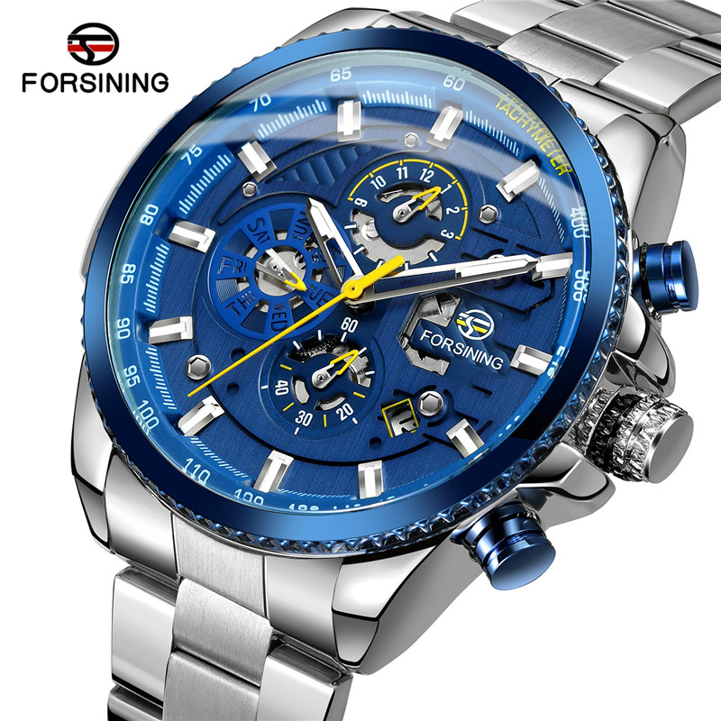 FORSINING Man Watch Skeleton Automatic Mechanical Military Waterproof Luxury Clock Top-Brand