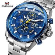 FORSINING Automatische Mechanische Mannen Horloge Militaire Sport Mannelijke Klok Top Merk Luxe Blue Skeleton Waterdicht Man Horloge 033