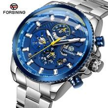 FORSINING automatique mécanique hommes montre bracelet militaire Sport mâle horloge Top marque luxe bleu squelette étanche homme montre 033