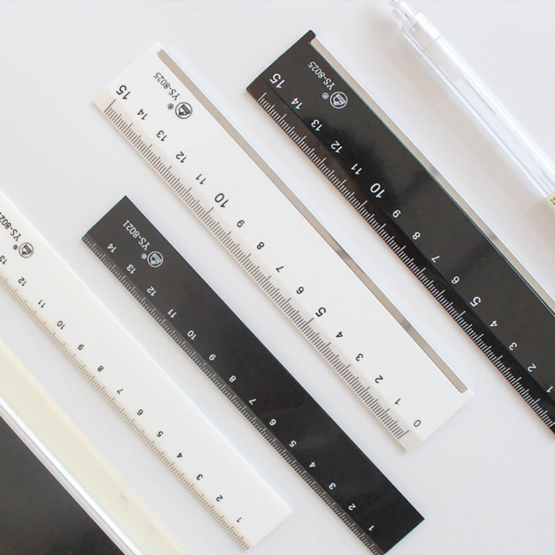 JIANWU 15cm Plastic Double-sided Scale Ruler Stationery Ruler Simple Cutting Ruler  School Supplies Drawing Supplies