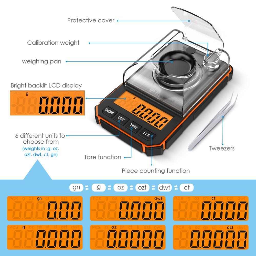 0.001g Digital Scale Portable Mini Scale Precise Graduation Professional Pocket Scale Milligram 50g Calibration Weights Tweezer 2