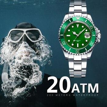 Reloj de buceo impermeable de 200m, reloj mecánico con movimiento de cristal de zafiro sintético de hombre 8215, relojes mecánicos automáticos para hombre