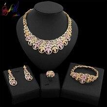 Yulaili Trendy Austria Crystal Rose Gold Leaf Shape Choker Dangle Earrings for Women African Nigeria Wedding Bridal Jewelry Sets