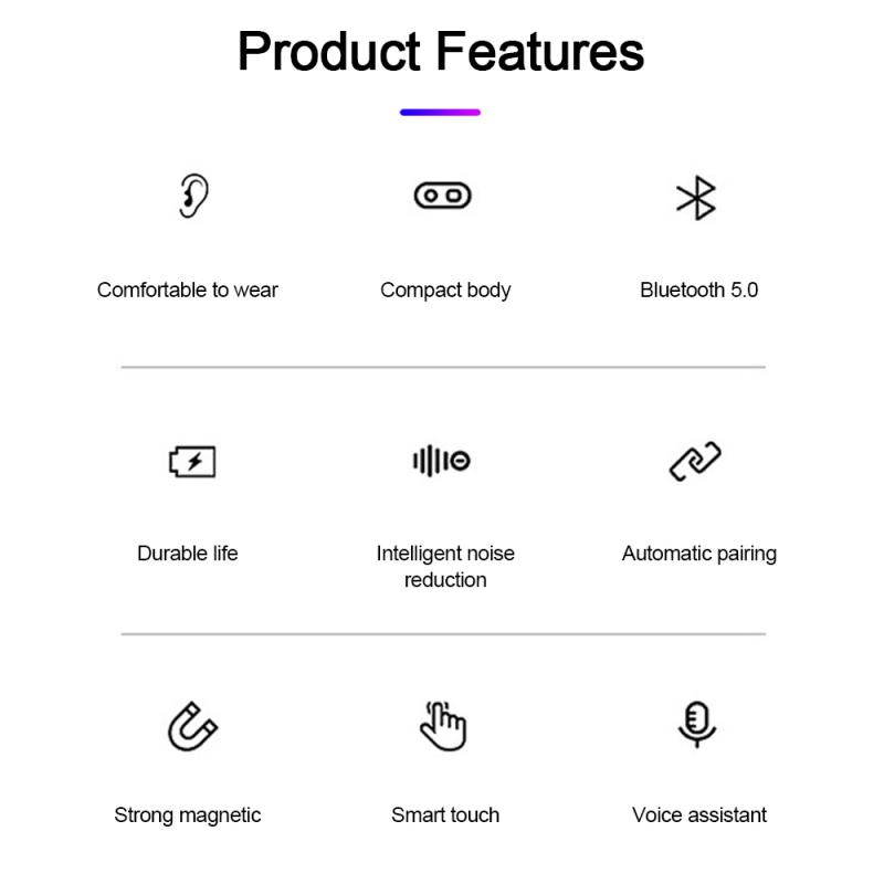 F9 TWS Wireless Bluetooth 5.0 Headphone Binaural Breathing Lamp Sports Stereo Earbud Headset White LED Charging Box 6