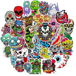 50Pcs Mixed Horror Series Graffiti Punk Stickers for Laptop Skateboard DIY Guitar Helmet Luggage Waterproof Decal Sticker