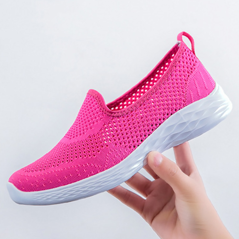 Casual woman sneakers Flying weaving Breathable Summer shoes slip on Sports shoes woman Soft bottom Light Female sneakers