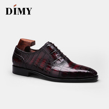 DIMY 2019 hand-made custom Goodyear high-end crocodile shoes mens formal business tie with wild pointed Oxford