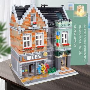 Image 4 - 15034 streetview建物のおもちゃとcompaitble 10004 mocバイクショップモデルビルディングブロック組立レンガキッズ子供のクリスマスプレゼント