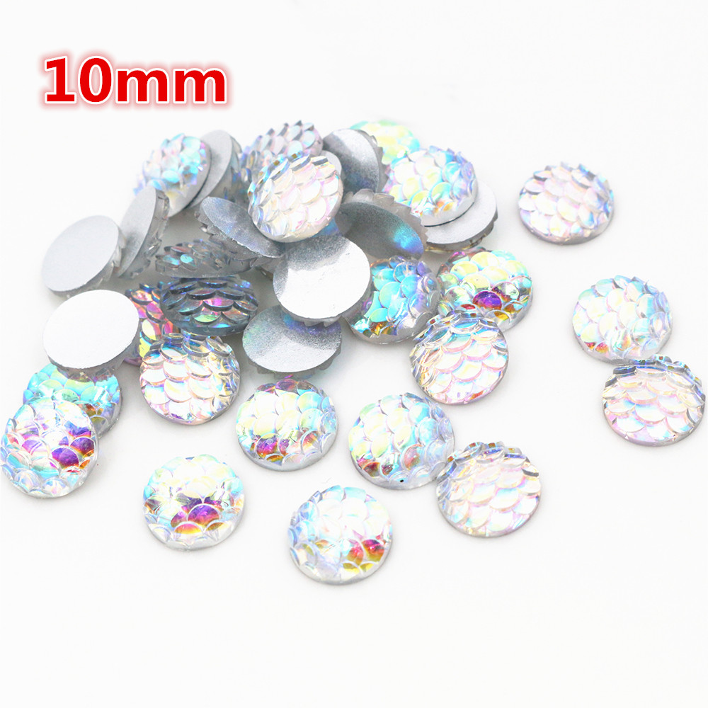 10mm 40pcs/Lot Transparent AB Colors Fish Scales Style Flat Back Resin Cabochons For Bracelet Earrings Accessories-O2-12