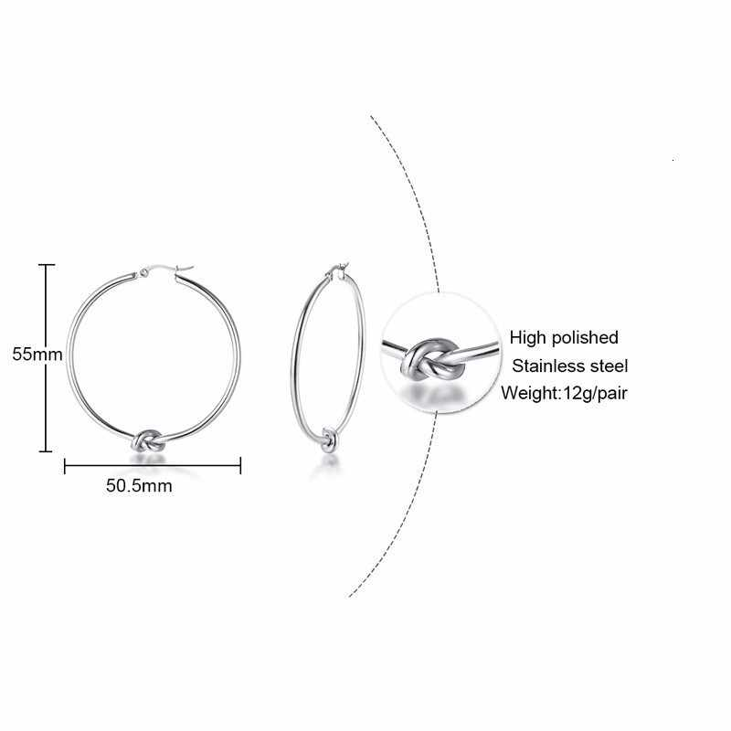 Vnox อินเทรนด์ Tie ออกแบบ Hoop ต่างหูสำหรับผู้หญิง Silver สีสแตนเลสสตีลต่างหูสาว Lady PARTY เครื่องประดับหู