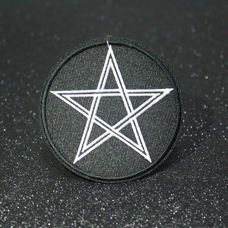 Pulaqi Pentagram Gothic Patch DIY Handmade Embroidered Iron On Patches For Clothing Applique Rock Bands Badges On Clothes F