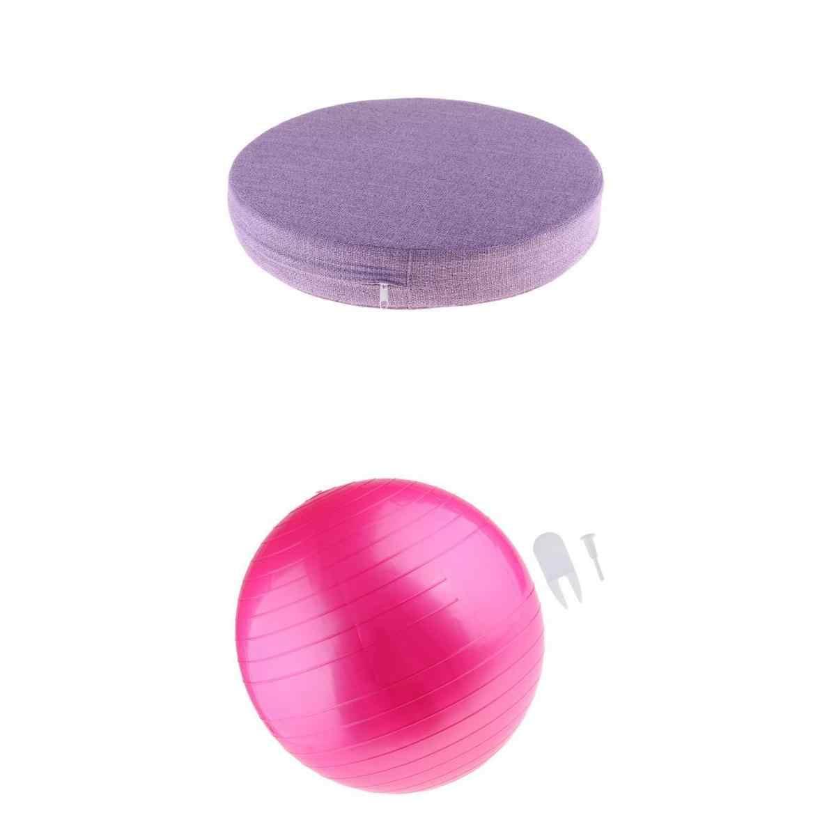 Yoga Meditation Cushion Round Yoga Pads & Yoga Ball Exercise PVC Yoga Ball, Durable to Use