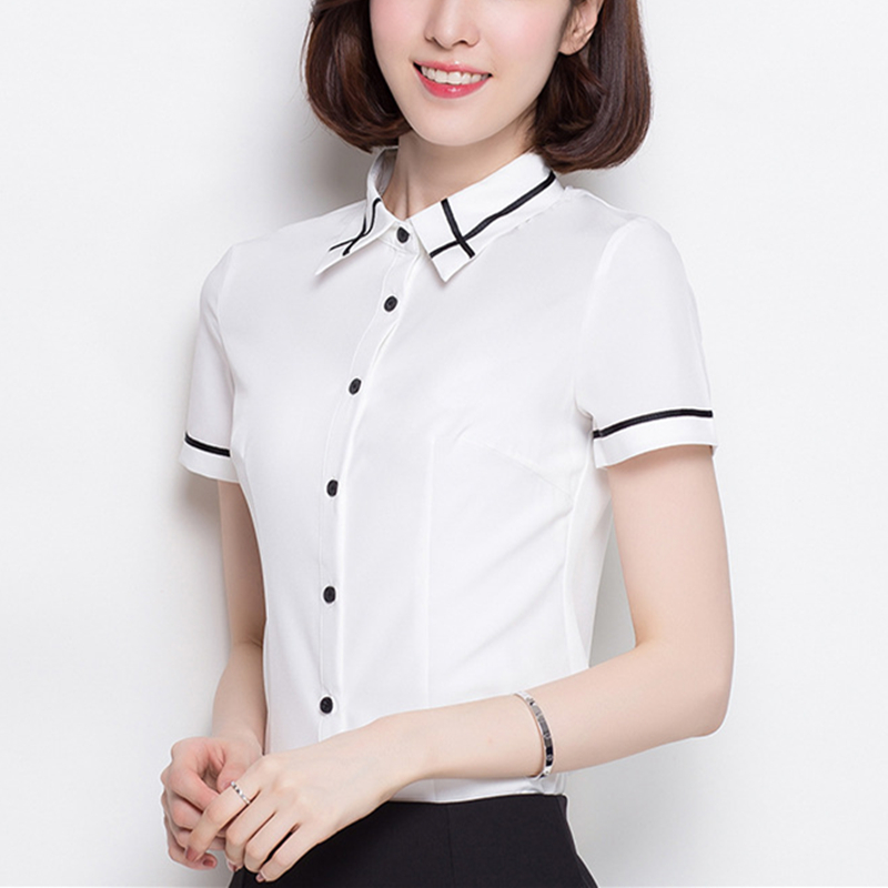 Women Shirts Elegant White Shirt Plus Size Korean Fashion Striped Blouses Blusas Mujer De Moda 2019 OL