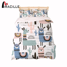 Miracille Cartoon Alpaca Printing Bedding Set Children Duvet Cover Sets With Pillowcase Home Bed Linen