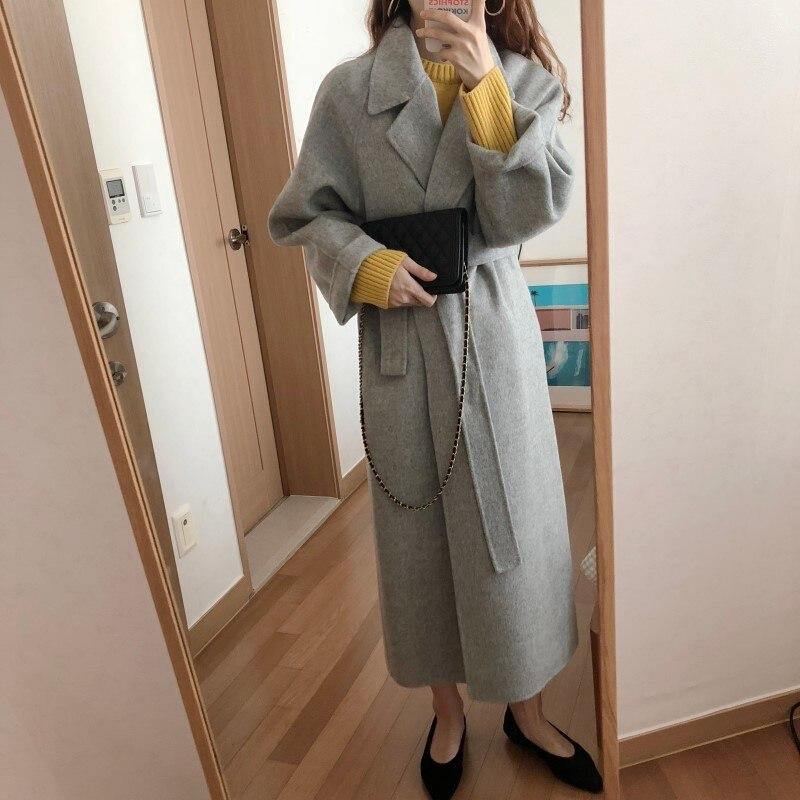 19 Winter Oversize Long Trench Coat Women Cashmere Coat Korean Lady Windbreaker Outwear Streetwear 17