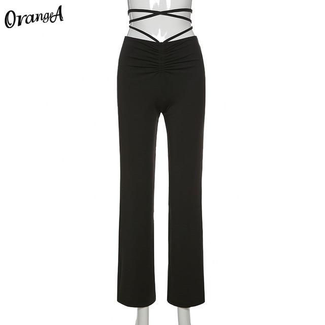 fashion bandage women straight pants elastic high waist  6