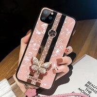 De diamantes de imitación de lujo 3D mariposa para iPhone X XR XS 12 11 Pro Max 7 8 Plus SE2 caso para Samsung S21 S20 Fe Nota 20 Ultra A52 cubierta