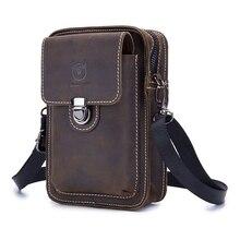 BULLCAPTAIN Genuine Leather Men Shoulder Bag Small Vintage Casual Multifunctional Messenger Man waist